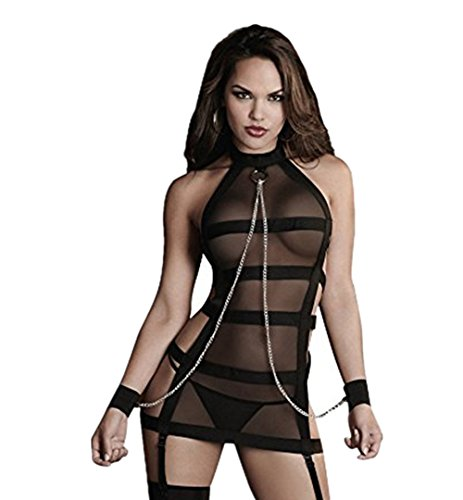 YeeHoo Sexy Lingerie for Women for Sex, Fishnet Babydoll Halter Sleepwear Mesh Chemise Bodysuit Sheer Outfits