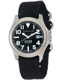 Momentum Atlas TI - Reloj analógico de caballero de cuarzo con correa textil negra - sumergible a 100 metros