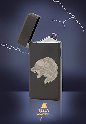 TESLA Lighter T13 | Encendedor de arco, doble arco de plasma, recargable electrónicamente, recargable con alimentación a través de USB, sin gasolina ni gasolina, con cable de carga, en caja de regalo noble, Black Wolf