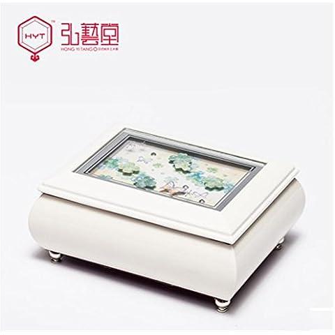 XYXY Caja de joyería hecha a mano de la princesa europea creativa caja de almacenamiento de joyería (blanco) . c . white