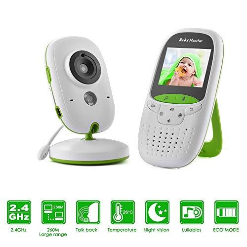 Huiiv Babymonitor 2,0 Zoll 2,4GHz drahtlose Videofarbe mit Nachtsicht und Temperaturüberwachung (Optik-video-baby-monitor)