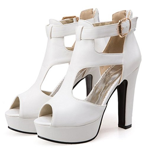 TAOFFEN Damen Party Dress High Heel Sandalen Peep-toe T-Strap Shoes Weiß