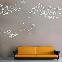 outflower adhesivos decorativos de fondo de las aves ramas decoración de interior pegatinas  60* 120CM), pvc, blanco, S