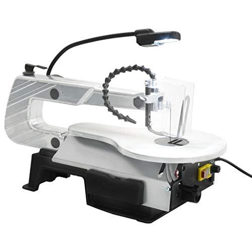 Festnight Sega Traforo Elettrica per Legno,Sega a Scorrimento con Luce Acciaio Profondità di Taglio 406 mm