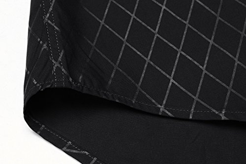 BURLADY Herren Hemd Slim Fit Diamant-Gitter Karohemd Kariert Langarmshirt Freizeit Business Party Shirt für Männer 6-Schwarz A