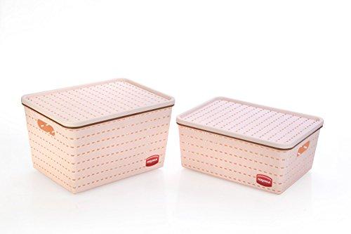 Nayasa Gloria 2 Piece Plastic Basket, 1 Big, 1 Medium, Peach