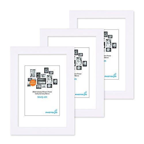 lderrahmen 10x15 cm Modern Weiss aus MDF mit Acrylglas/Portraitrahmen/Wechselrahmen ()