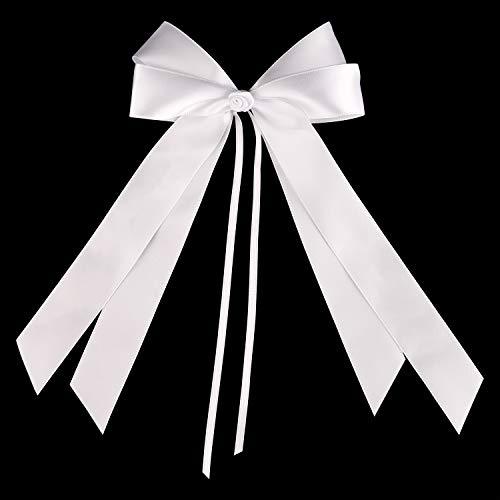 FEPITO 25 Autoschleifen Hochzeit Antennenschleifen Weiß   Schleifen Auto Hochzeit Deko Hochzeitsdeko Tisch Deko Taufe Deko   Hochwertiges Satin (Weiß)