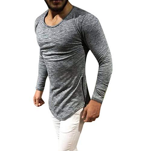 Hmeng Men's Merino Wool Midweight Baselayer Crew - Choose Your Size & Color (Grau, S)