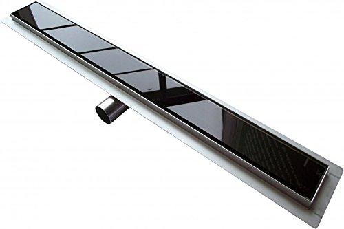 Caniveau de sol grand débit pour douche italienne GL01 - grille en verre noir - Longueur sélectionnable, Longueur du drain de la douche:800mm