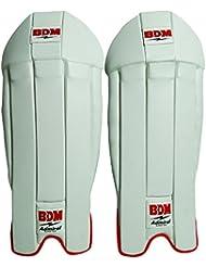 BDM Admiral Lightweight Cricket Keeping Pads Leg Guard PU cuir blanc