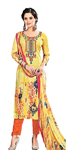 Cotton Silk Satin Pakistani Karachi Style Designer Embroidered Unstitched Dress Material with...