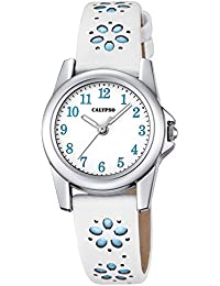 Calypso Kinderarmbanduhr Quarzuhr Analoguhr Lederband mit Blumenprägung K5712, Farbe:blau