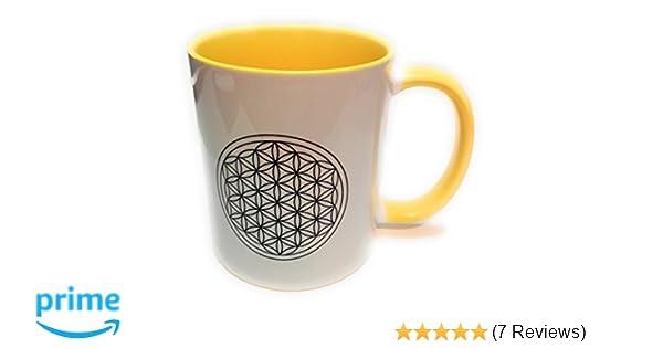 //Teetasse Blume des Lebens gelb mit Geschenkskarte Dreamlife Kaffee