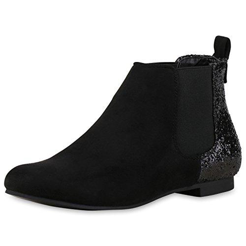 Damen Chelsea Boots | Kunstleder Stiefeletten | Pflegeleichte Boots | Gr. 36-41 Schwarz Glitzer
