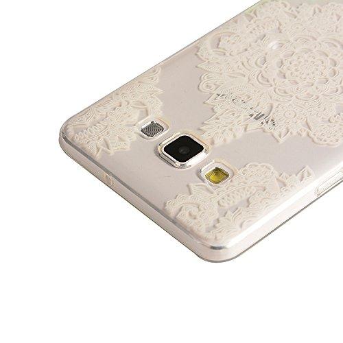 OuDu Etui en Silicone pour iPhone 5/5S Housse Souple de Protection Coque Transparente TPU Caoutchouc Etui Flexible Lisse Housse Ultra Mince Coque Poids Léger Soft Silicone Case Cas Motif Créatif Couve Fleur de Mandala