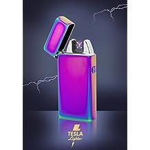 Tesla-Lighter T05 Lichtbogen Feuerzeug Plasma Double-Arc elektronisch wiederaufladbar. Aufladbar per USB mit Strom ohne Gas und Benzin. Mit Ladekabel in edler Geschenkverpackung Regenbogen