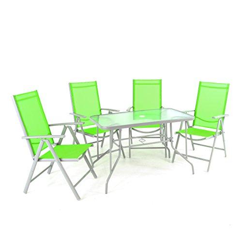 Nexos 5-Teiliges Gartenmöbel-Set – Gartengarnitur Sitzgruppe Sitzgarnitur aus Klappstühlen &...