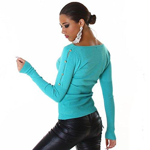 bellissimo maglione maglia donna pullover pull con strass ,bottoni e spacchi maniche Azzurro