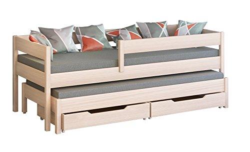 Schraubregal JULA Einzelbett für Kinder mit Ausziehbett. Schubladen enthalten, Versandkostenfrei., holz, Bleached Oak, 200x90/190x90 - Holz-kinder Einzelbett