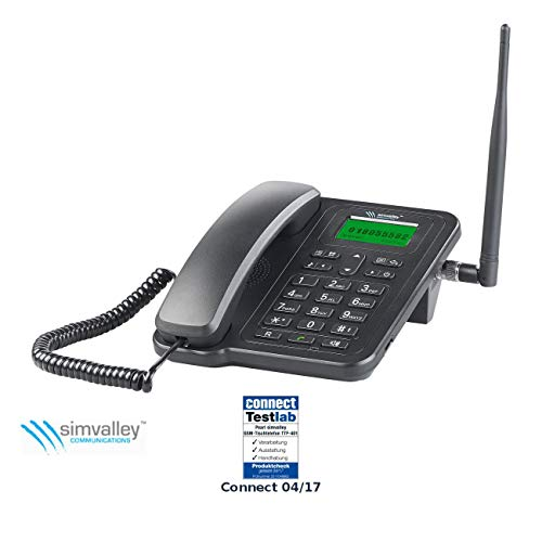 simvalley communications Tischtelefon: GSM-Tisch-Telefon mit SMS-Funktion und Akku, ohne Vertrag & SIM-Lock (GSM Tischtelefon Senioren)