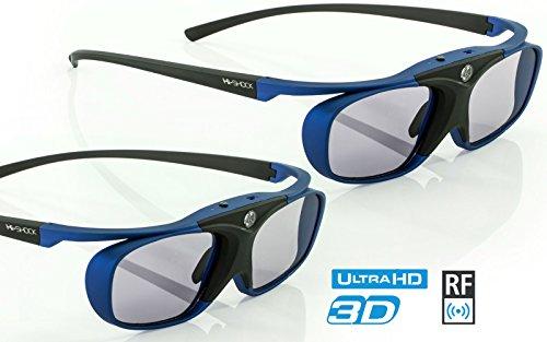 2x Hi-SHOCK RF Pro Deep Heaven | Funk 3D Brille für Epson / SONY RF Beamer |komp. mit JVC PK-AG3 & PK-EM2 3D-Synchro-Sender / TDGBT500A [Shutterbrille | 120 Hz | Akku | 32g | FHD3D RF]