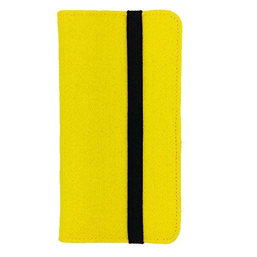 handy-point Universell Organizer für Smartphone Tasche aus Filz Filztasche Filzhülle Hülle Schutzhülle mit Kartenfach für Samsung, iPhone, Huawei (5,3-5,5 Zoll max 16,5 x 8,3cm, Gelb)
