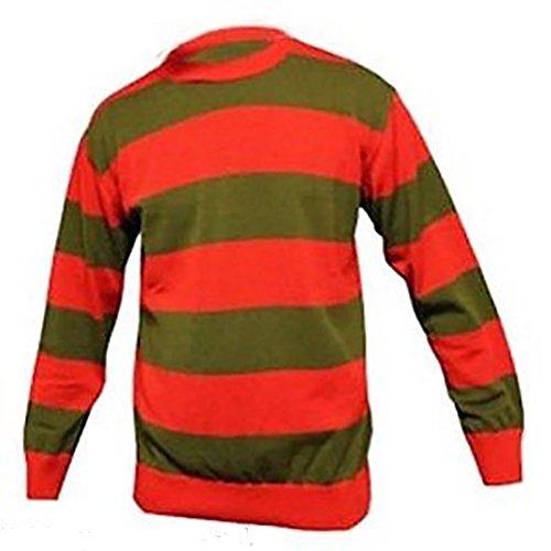 Krueger Freddy Jungen Kostüm (Herren Rot und Dunkel Grün Streifen Freddy Krüger Kostüm Pulli, Rot und Grün Freddy, Large (Chest)