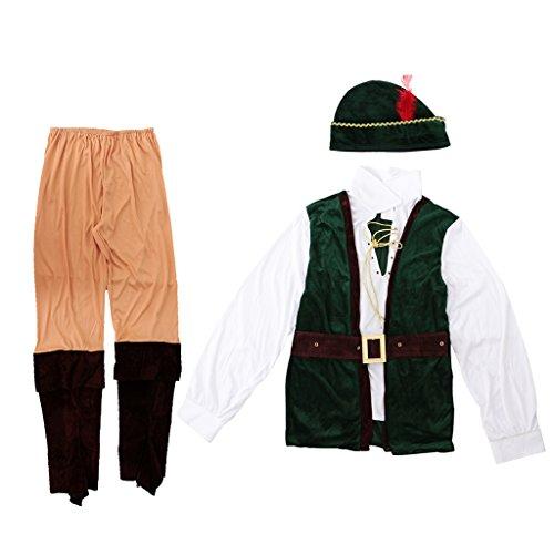 Jäger Kostüm Fancy Kleid Halloween Cosplay Erwachsenen Männer Outfit (Wald Prinz Kostüme)