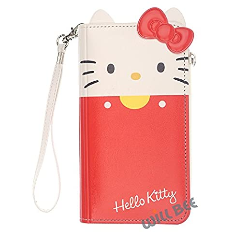 iPhone 7Coque, Hello Kitty mignon Diary Portefeuille Cuir synthétique/antichoc/sangle inclus [Apple Iphone7] Coque Wallet Body Red (iPhone 7)