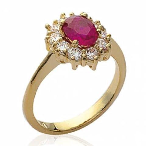 Bague Marquise Pierre Rouge Ruby Ornée de Zirconium Diamantés Femme Plaqué Or 18 Carats - Taille 60 - Bijouxagogo - 46621