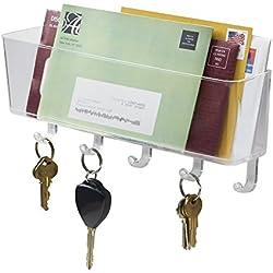 mDesign Organizzatore Posta, Portalettere, Portachiavi per Ufficio, Ingressi, Cucina - da Parete, Trasparente