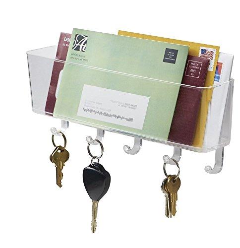 mDesign Briefablage und Schlüsselleiste - für ordentliche Aufbewahrung von Schlüssel, Briefe, Prospekte – Organizer Eingangsbereich, Schlüsselbrett mit Ablage – Farbe: durchsichtig