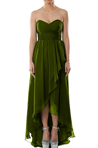 MACloth Women Strapless Chiffon Hi Lo Bridesmaid Dress Wedding Party Formal Gown Olive Green