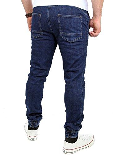 Reslad Jogg-Jeans Sweathose in Jeansoptik Jeans-Herren Slim Fit Herren Hose RS-2071 Dunkelblau