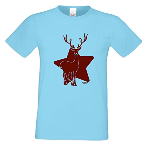 Motiv Fun T-Shirt Renntier als einzigartiges Weihnachtsgeschenk oder Weihnachts-Markt Advents Outfit Geschenk Idee mit Spass-Urkunde Farbe: hellblau Hellblau