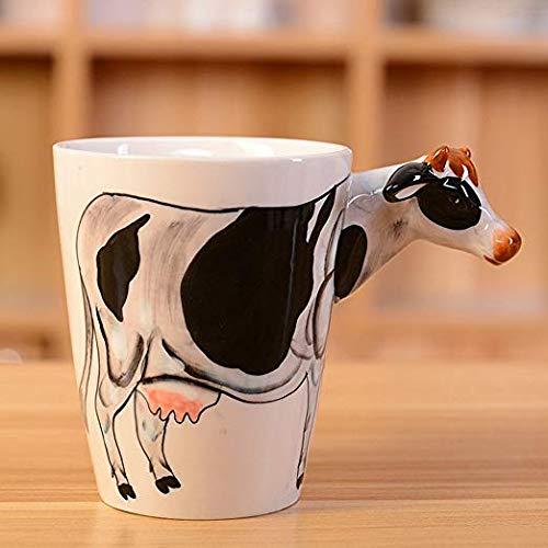 Taisuko Taza de café de cerámica de la taza de café de cerámica de la vaca animal pintada a mano pura 3D