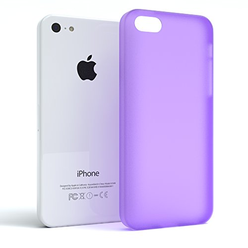 "Apple iPhone 5C Hülle, EAZY CASE Ultra Slim Cover ""Clear"" - Premium Handyhülle Transparente Schutzhülle, Smartphone Case in Transparent Matt Lila"