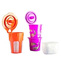 Chez Café Premium Reusable K-Carafe & K-Cup Coffee Filter Pod Combo for Keurig 2.0, K200, K 300, K 400 & K500 Series w/ Activated Charcoal Water Filter Cartridge (4, Purple & Orange)