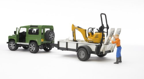 Image of Bruder Land Rover Defender with One Axle Trailer, JCB Micro Excavator and Worker
