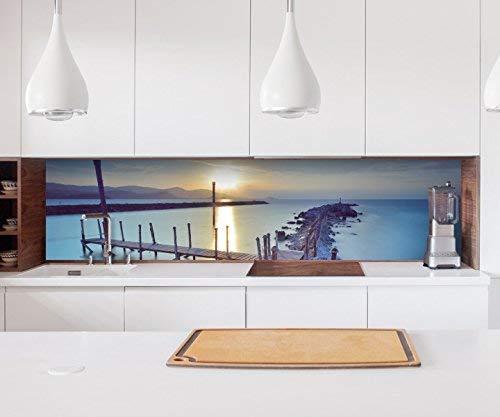 Aufkleber Küchenrückwand Steg Meer See Wasser Nacht Landschaft Kitchen Küche Folie Fliesen Möbelfolie Spritzschutz 22?1576, Höhe x Länge:80cm x 400cm