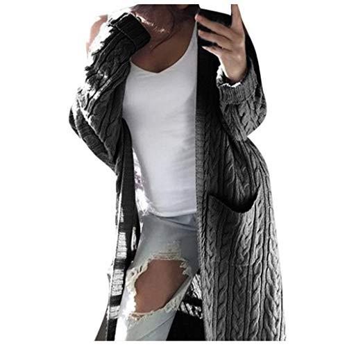 ZHANSANFM Damen Strickjacke Langarm Einfarbig Cardigan mit Tasche Lange Twist Strickmantel Herbst Oversize Outwear Basic Casual Strand Strickpullover Mode Elegant Coat Jacke (XL, Grau) -