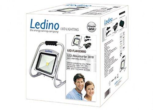 Ledino LED Akkustrahler 30 W Li-Ion Akku 8.8Ah dimm, silber