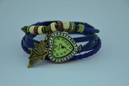 zDelhi.com Crystal Vintage Bracelet Leather Watch for Women Girls