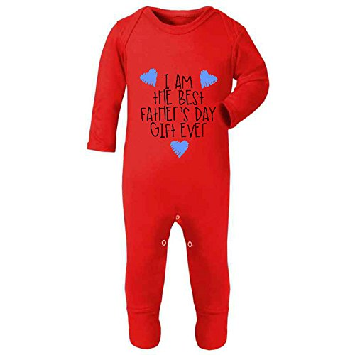 Blue Hearts - I Am The Best Father's Day Gift Ever Cute Statement Baby Rompersuit - Fathers Day Gift