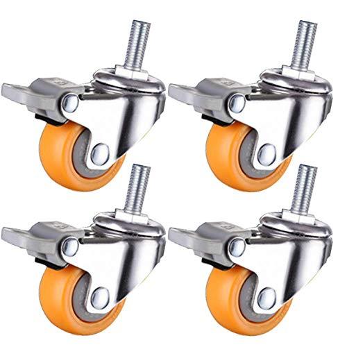 GUXINHOME 4 Stück Kleiner Castor Räder für Möbel Gewinde M6 Lenkrollen mit Bremsen 100kg für Krippe Universal-Rad für Trolley Bürostuhl Regal Schublade,1.5inch,4brake