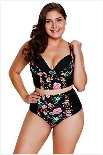 Badeanzüge für Damen Frauen Lace Ausschnitt Floral Badeanzug Plus Size High Waist Badeanzug Bikini Set,XXL