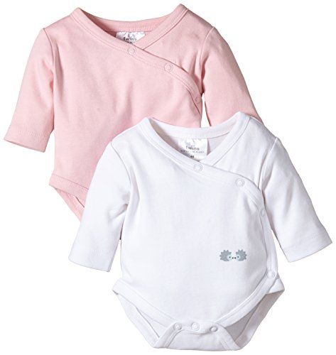 Twins Baby Girls Wrap-Around Bodysuit, Longsleeve, 2-Pack, Multicoloured (Weiss/Rosé), Newborn (Manufacturer size: 50)