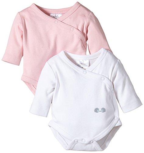 Twins Baby - Mädchen Langarm-Wickelbody im 2er Pack, Mehrfarbig, Gr. 74, Mehrfarbig (weiss/rosé)