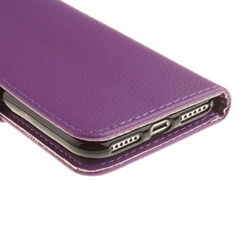 inShang Hülle iPhone 7 4.7 inch iPhone7 Cover con Ständer,PU Leder Tasche Skins Etui Schutzhülle Smart Case Cover mit super-nützliche Geldbörsenart, Wallet design with card slot Lichi purple